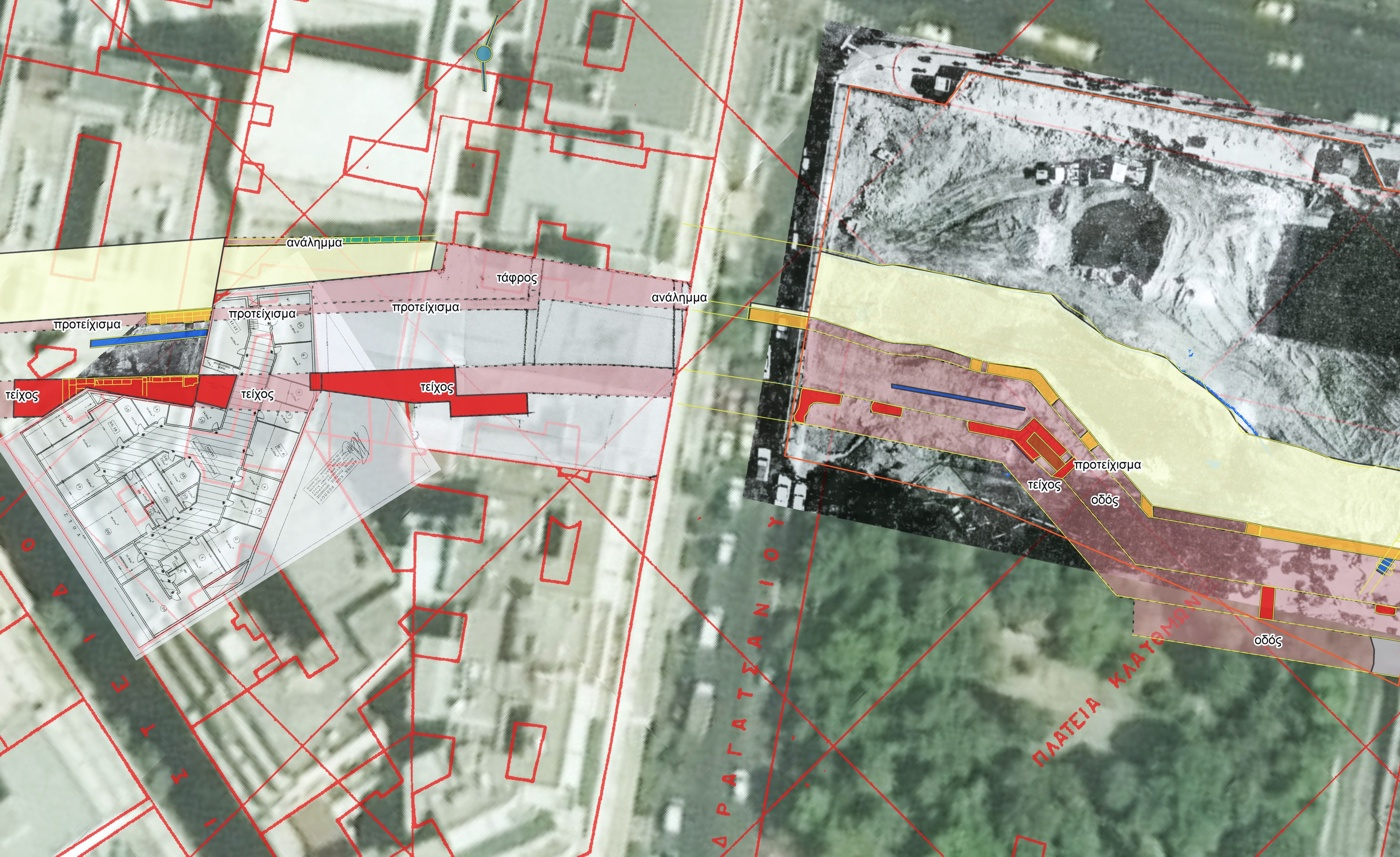 Excavated remains of the Athenian fortifications in the area of Klafthmonos square. The inferred course of the remains is shown in transparency. Basemaps include architectural plans and excavation photos superimposed on modern satellite imagery and cadastral maps.