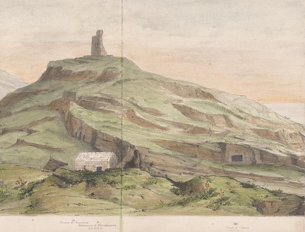 Ο Άγιος Δημήτριος Λουμπαρδιάρης σε μία από τις παλαιότερες απεικονίσεις του. Λεπτομέρεια από το Selina Bracebridge, Notes Descriptive of a Panoramic Sketch of Athens, 1839