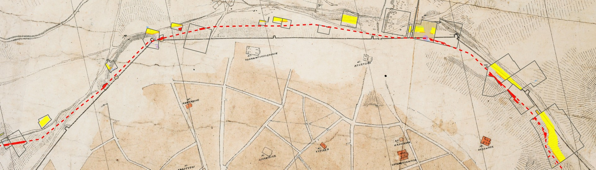 Το βόρειο τμήμα της Αθήνας από τον χάρτη Κλεάνθη-Σάουμπερτ (1831-32) που δείχνει τη γραμμή του τείχους του Χασεκή (1778). Η γραμμή του θεμιστόκλειου τείχους (479/8 π.Χ.) επισημαίνεται (με κόκκινο) σύμφωνα με τα ανασκαφικά κατάλοιπα.