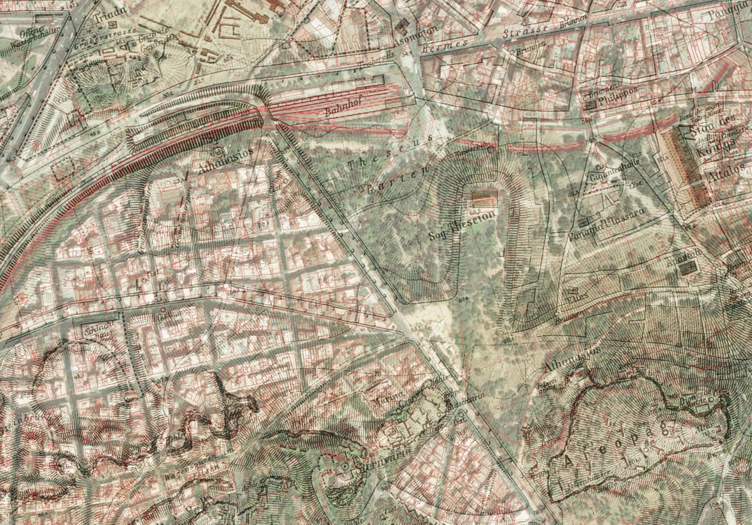 Detail of the map of Athens by Ε. Curtius & J. A. Kaupert (Atlas von Athen. Berlin 1878: ΒΙ.ΙΙΙ) superimposed on modern basemap.