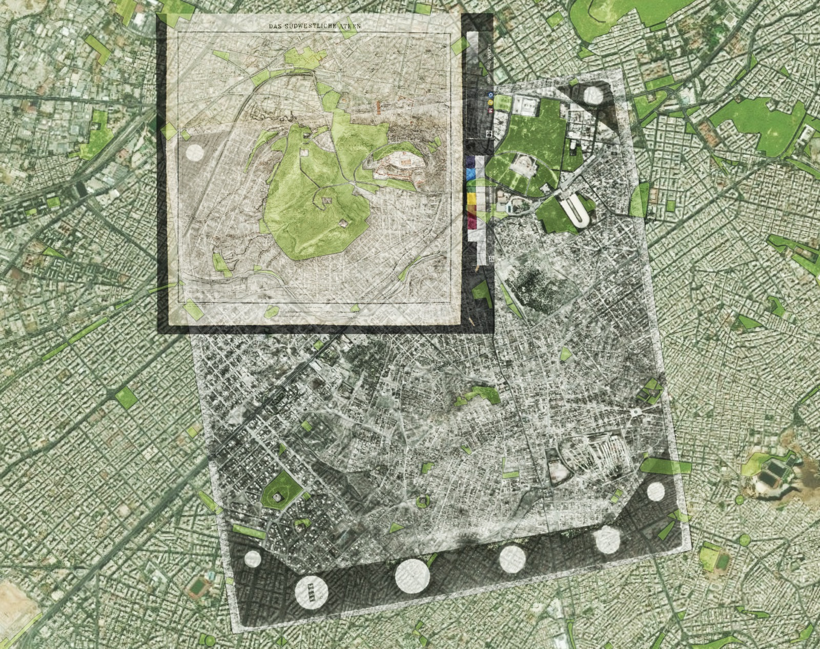 Georeferencing of aerial photograph of central Athens (1939) from the Greek Military Service (scale: 1:18000) and the map by Curtius, E. & Kaupert, J. A. 1878. Atlas von Athen. Berlin: ΒΙ.ΙΙΙ (scale 1:4000). Shown in transparency on top of modern basemap.