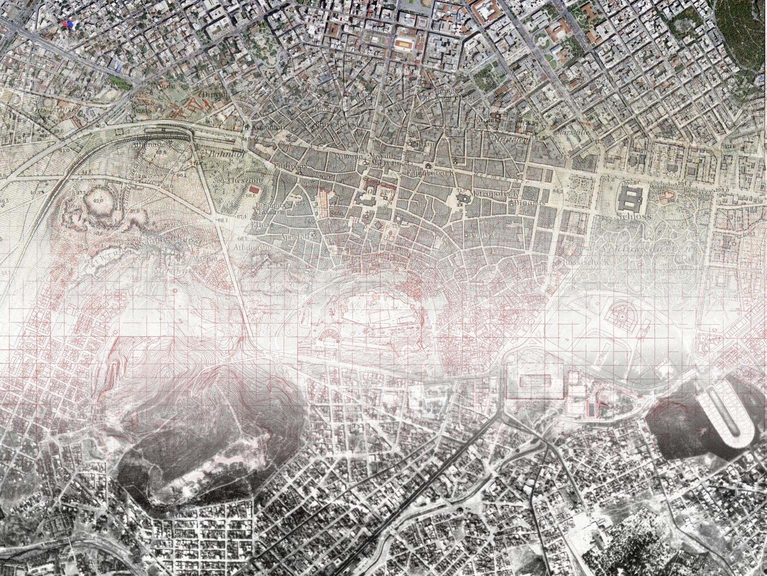Combination of satellite and aerial imagery, cadastral and historical map for the centre of Athens.