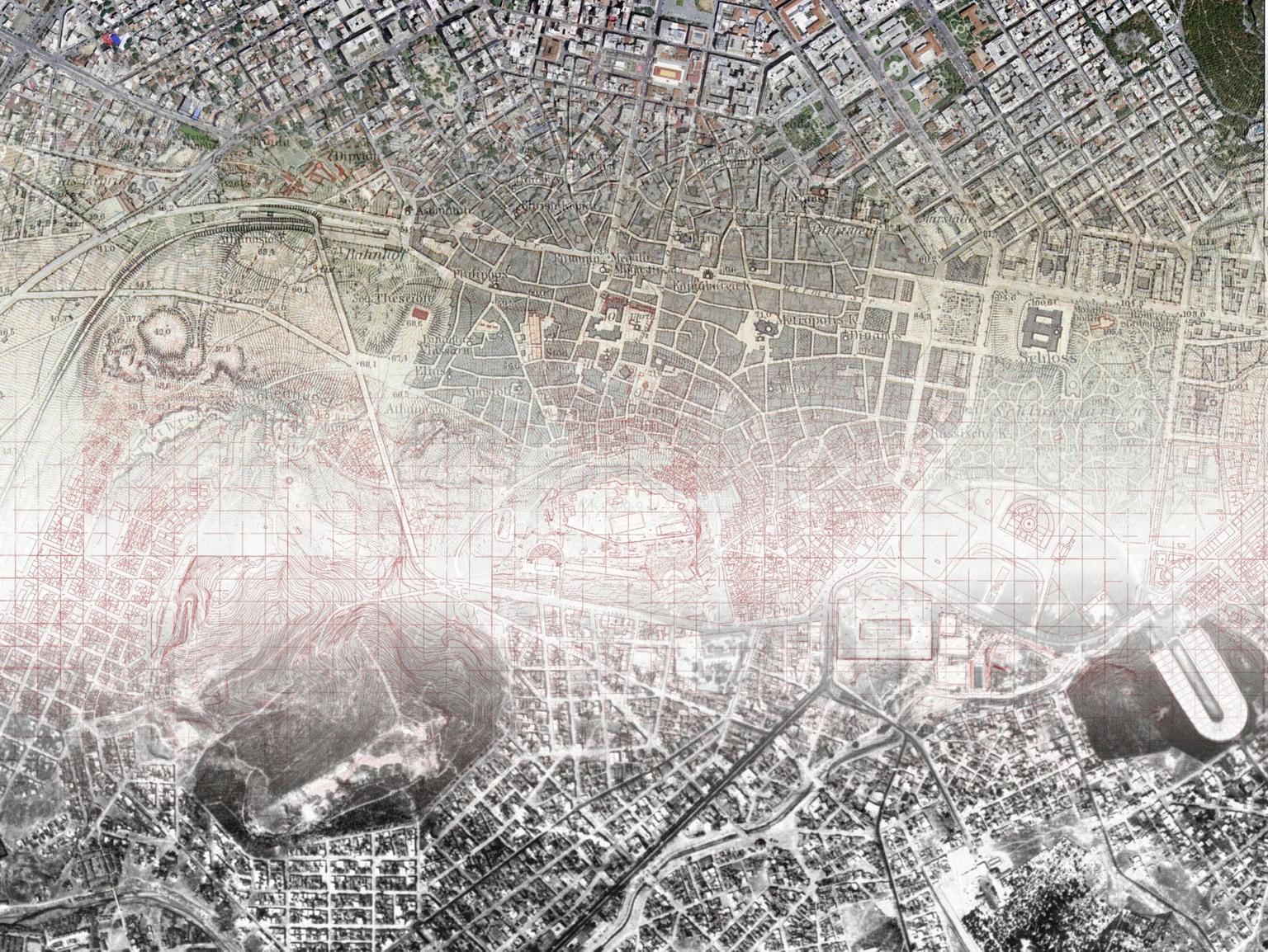 Συνδυασμός δορυφορικής εικόνας, αεροφωτογραφίας, τοπογραφικού υποβάθρου και ιστορικού χάρτη για το κέντρο της Αθήνας.