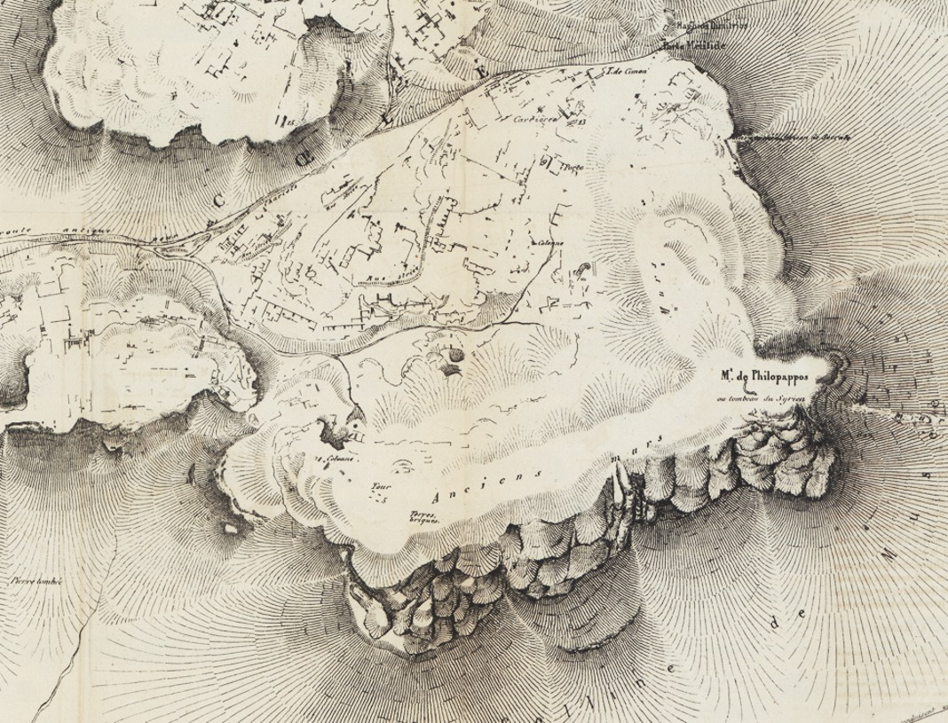"Detail from the map of the Western hills of Athens by É. Burnouf (""Notice pour le plan d'Athènes antique"", Archives des Missions Scientifiques Ve cahier. 1856)."